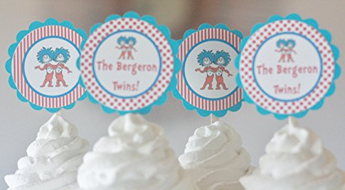 12 - Dr. Seuss Thing 1 Thing 2 Twins Baby Shower Cupcake Toppers