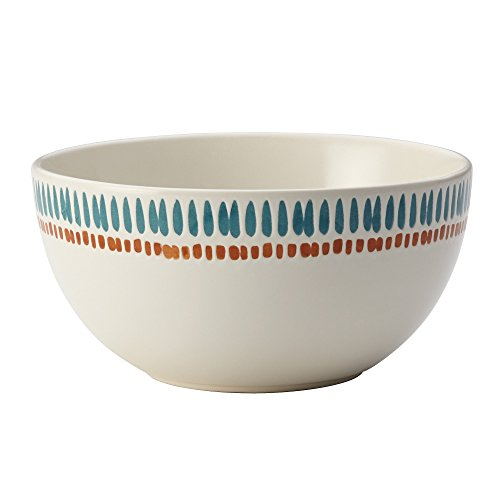 Rachael Ray Sun Daisy Cucina Dinnerware 5.5-Inch Cereal Bowl, Agave Blue and Pumpkin Orange