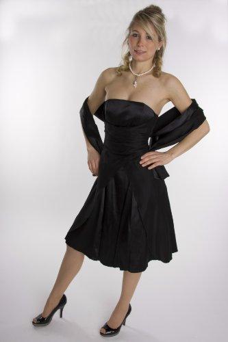 Modell 2030 Abendkleid knielang, schulterfrei, schwarz Größe 36