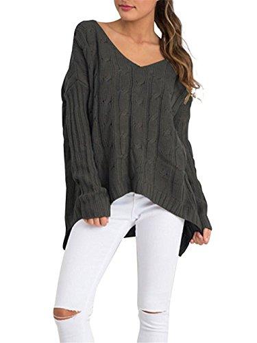 Aidonger Damen Asymmetrisch Langärmelig Pullover Tief V-Ausschnitt, Armeegrün, Weiß