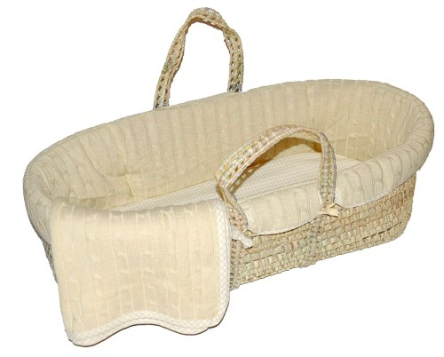cheap tadpoles cable knit moses basket set in natural. Black Bedroom Furniture Sets. Home Design Ideas