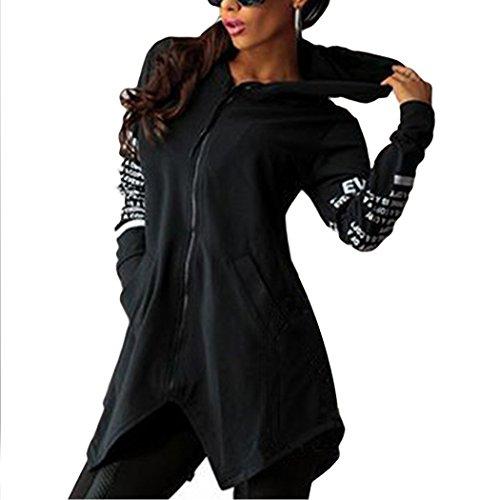 ZEARO Damen Hoodie Sweatshirts Sport Kapuzen Briefe Print Zipper Pocket Pullover Top