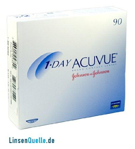 Johnson&Johnson, 1-Day Acuvue Tageslinsen, Packung mit 90 Kontaktlinsen (BC-Wert: 8.50 / Dia: 14.2 mm)