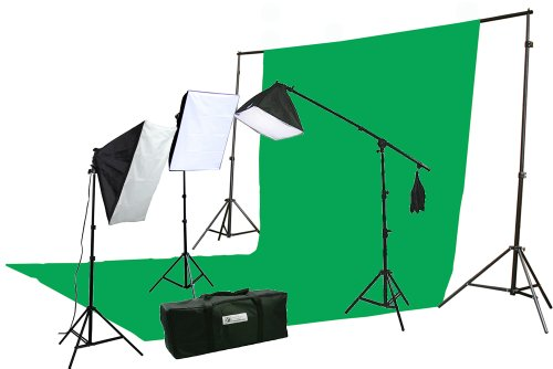 ePhoto 10 X 20 Large Chromakey Chroma KEY Green Screen Support Stands 3 Point Continuous Video Photography Lighting Kit H9004SB-1020G