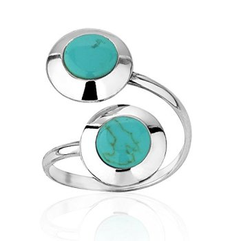 925-Sterling-Silver-Twin-Double-Round-Blue-Reconstructed-Turquoise-Gemstone-Shell-Adjustable-Ring
