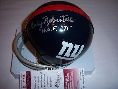 f01ebf2c7 Andy Robustelli Autographed Mini Helmet - Jsa coa - Autographed NFL Mini  Helmets