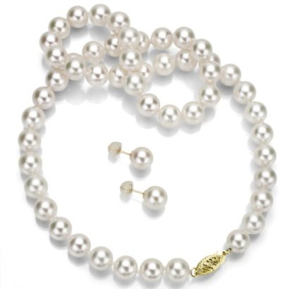 14k-Gold-Round-Handpicked-AAA-White-Japanese-Akoya-Cultured-Pearl-Necklace-18-and-Stud-Earrings-Set