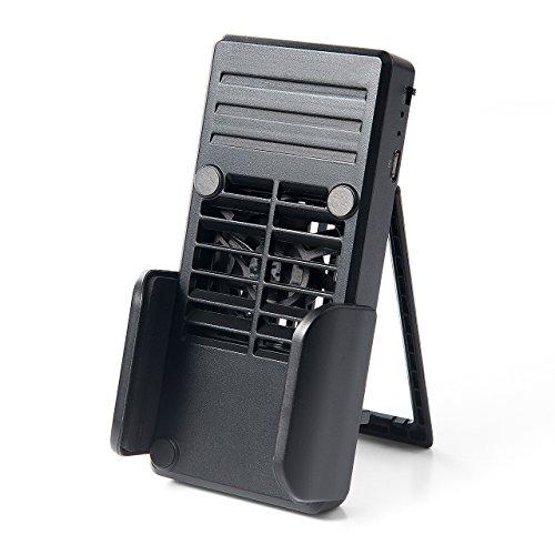 サンワダイレクト スマホ用冷却クーラー ファン付 スタンド付 1000mAhバッテリー内蔵 スマホ充電機能付 400-CLN023
