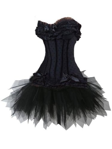 Sexy Corsagenkleid Corsage Kleid Petticoat Tutu MIni Rock Korsett schwarz
