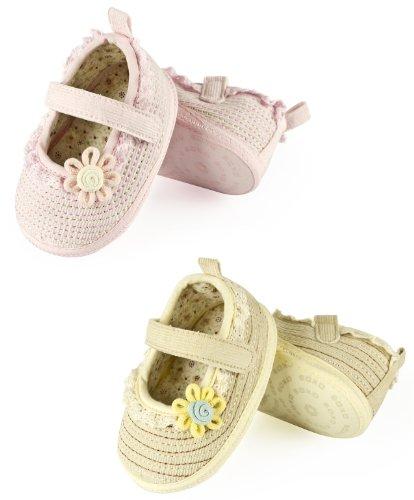 2 Paar Baby Schuhe / Mädchen Schuhe - Rosa + Beige