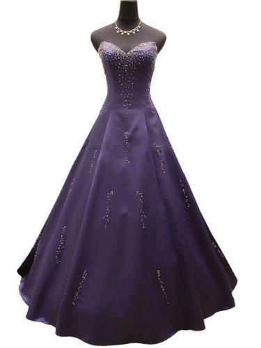 Qpid Showgirl Langes Abendkleid mit Perlen herzförmiger Ausschnitt, Farbe lila, 3499PU (44, Lila)