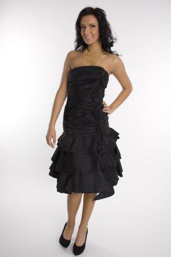 Modell 2048 Abendkleid knielang, schulterfrei, schwarz Größe 34