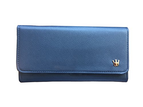 Navy Blue Trifold Wallet: 100% Vegan Women's Fashion Clutch: Animal-Free Faux Leather Wallet- Handwrapped