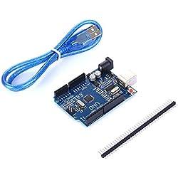 tinxi® La nueva versión del UNO R3 de ATmega328P CH340 para Arduino + cable USB