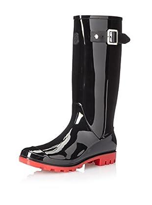 dav Women's Jelly Lug Buckles Boot (Black/Red)