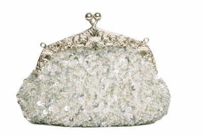 Elegante perlenbestickte Clutch Party Bag in Silber