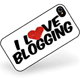 Rubber Case for iphone 4 4s I Love Blogging - Neonblond