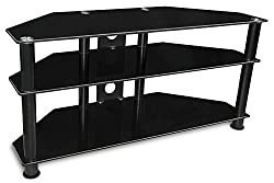 Mount-It! MI-850 TV Stand Shelving Furniture LCD LED Plasma for TVs Between 30 and 50 Inches, 3 Tempered Glass Shelves for Media Cabinet Unit with Powder Coated Aluminum Columns, Black