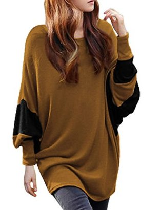 Allegra-K-Batwing-Long-Sleeved-Color-Block-Scoop-Neck-Tunic-Shirt-Lady-Brown-L