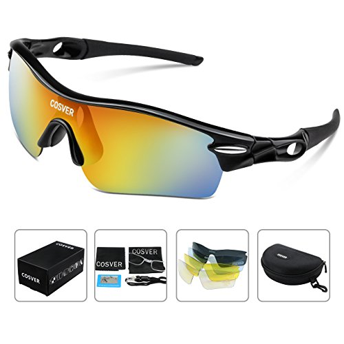 d53f852f73d COSVER Fashion Polarized Sports Sunglasses with 5 Lenses for Men Women  Driving Cycling Running Tactical Glasses (Black Black