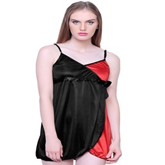 Bomshel Women Red and Black Satin Nightwear Nightdress with Panty