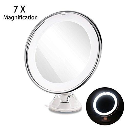 RUIMIO Kosmetikspiegel Beleuchtet mit 7-facher Vergrößerung und Saugnapf-Grundplatte