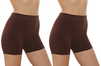 2-Pack-Womens-Seamless-Stretch-Yoga-Exercise-Shorts-BROWN