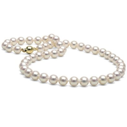 14K-Cultured-White-Japanese-Saltwater-Akoya-Pearl-Necklace-18-Inches-AAA-Quality
