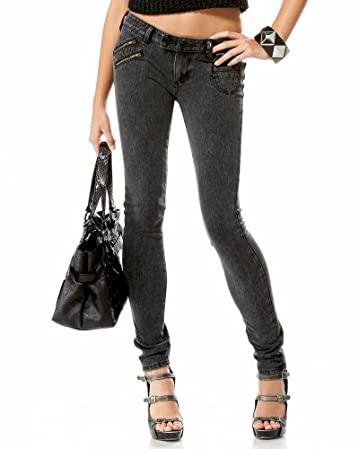 Triple Zip Denim Legging