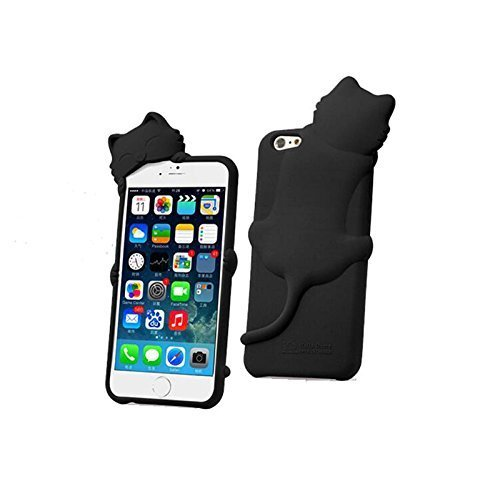 iphone6 ケース シリコン かわいい 猫 アイフォン6 ケース イヤホンジャック iphone6case ネコ 4.7インチ アイフォン6 カバー 人気 おすすめ ネコ hello猫ちゃん ブラック 41IEbp 2BtVFL