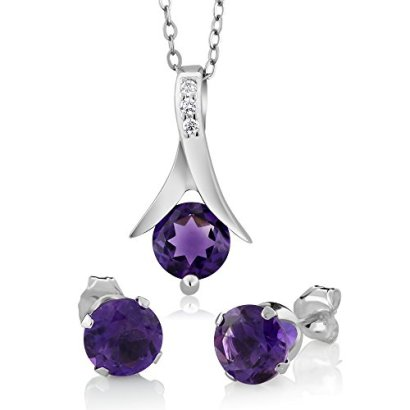 225-Ct-Round-Purple-Amethyst-925-Silver-Pendant-and-Earrings-Set-18-Chain