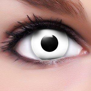 Farbige Kontaktlinsen Crazy Color Fun Contact Lenses 'White Zombie' Topqualität inkl. 50 ml Lenscare Kombilösung und Linsenbehälter