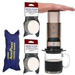 AeroPress Coffee and Espresso Maker with zippered nylon tote bag with bonus 350 Micro Filters