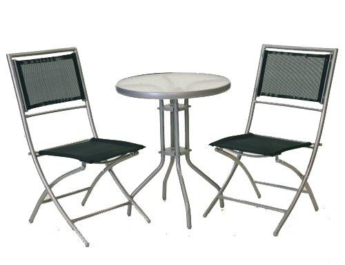 Siena Garden Set Palma,2 Klappstühle + 1 Tisch 60 cm silber/schwarz