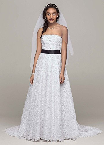 A line All Over Beaded Corded Lace Wedding Dress Style CT2406  White  8