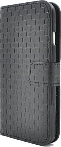 PLATA  iPhone7ケース 市松 模様 チェック ブロック スタンド ケース ポーチ 格子柄 手帳型 カバー 【 ブラック 黒 ぶらっく black 】 IP7-5009BK