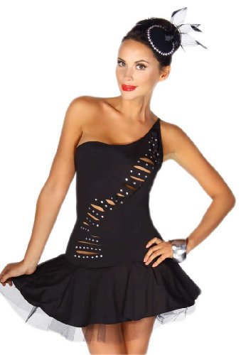 Sexy Petticoat-Minikleid Schwarz Kurze Schlitze & Strass-Steinchen Top Mini Kleid Gr. 34 36