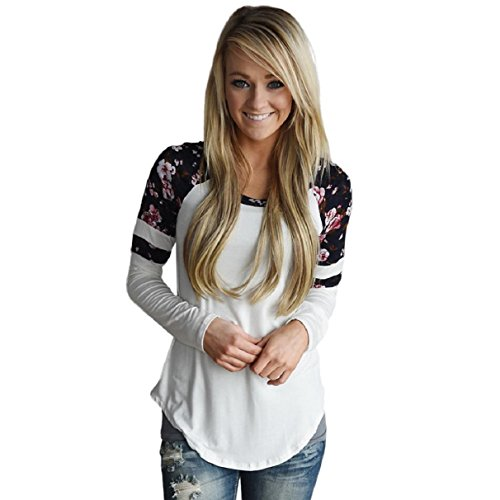 OverDose MoKingTop Damen Floral Splice Printing Langarm Rundhals Pullover Bluse Tops T-Shirt