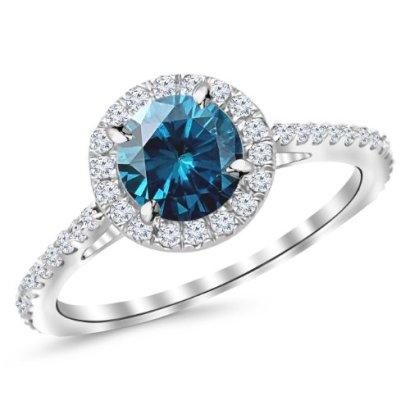 14-Carat-14K-White-Gold-Classic-Round-Halo-Diamond-Engagement-Ring-w-1-Carat-Blue-Diamond