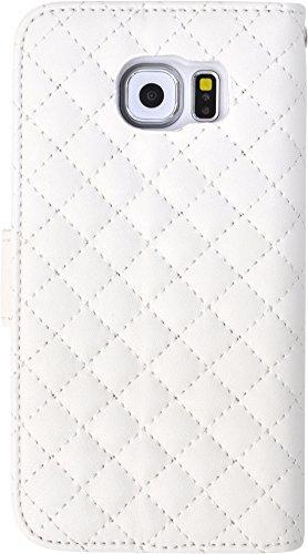 PLATA GALAXY ギャラクシー S6 SC-05G 用 キルティング レザー ケース ポーチ GALAXYS6 ギャラクシーS6 手帳型 カバー 【 ホワイト 白 しろ シロ white 】 DSC05G-57WH
