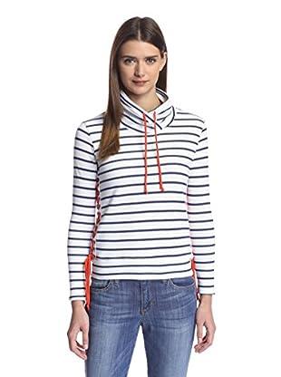 Nation Women's Alexis Lace Up Sweatshirt (White/Blue Stripe)