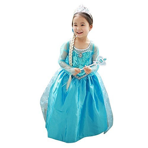 Loel Princess Inspired Girls Snow Queen Party Costume Dress (6-7years)