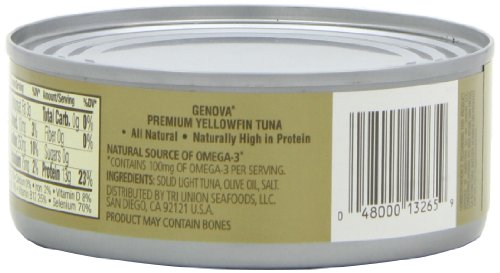 Genova Yellowfin Tuna in Pure Olive Oil 5Ounce Pack of