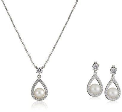 Platinum-Plated-Sterling-Silver-Cubic-Zirconia-Freshwater-Cultured-Pearl-Drop-Pendant-Necklace-and-Earrings-Jewelry-Set