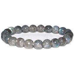 "Natural A Grade Labradorite Gemstone 8mm Round Beads Stretch Bracelet 7"" Unisex"