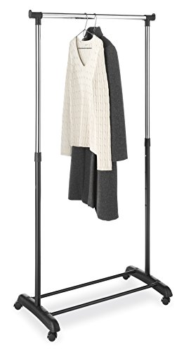 Whitmor Adjustable Clothes / Garment Rack, Black & Chrome