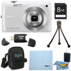Nikon COOLPIX S4300 16MP 3-inch Touch Screen Digital Camera White Bundle