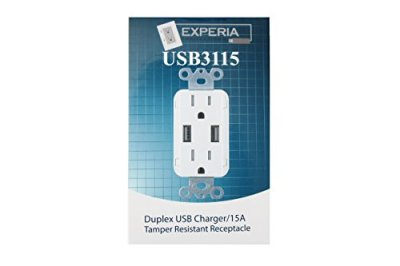 Experia Innovations Wall Outlet High Speed USB Charger Receptacle Box