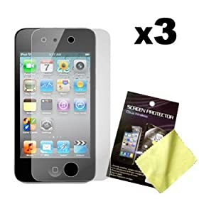 Cbus Wireless Three LCD Screen Guards / Protectors for Apple iPod Touch 4 / 4G / 4th Gen