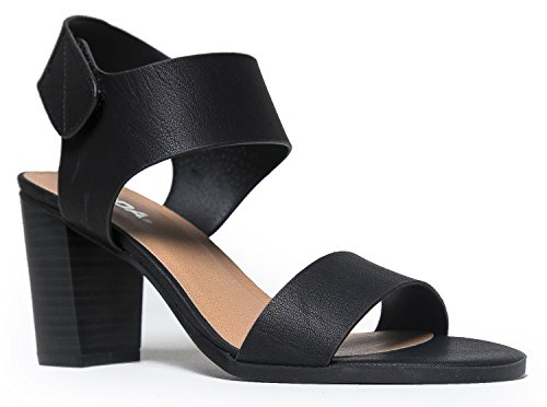 Peep Toe Sandal - Low Stacked Heel - Open Toe Ankle Heel Cutout Velcro Enclosure, Black Nubuck PU, 9 B(M) US